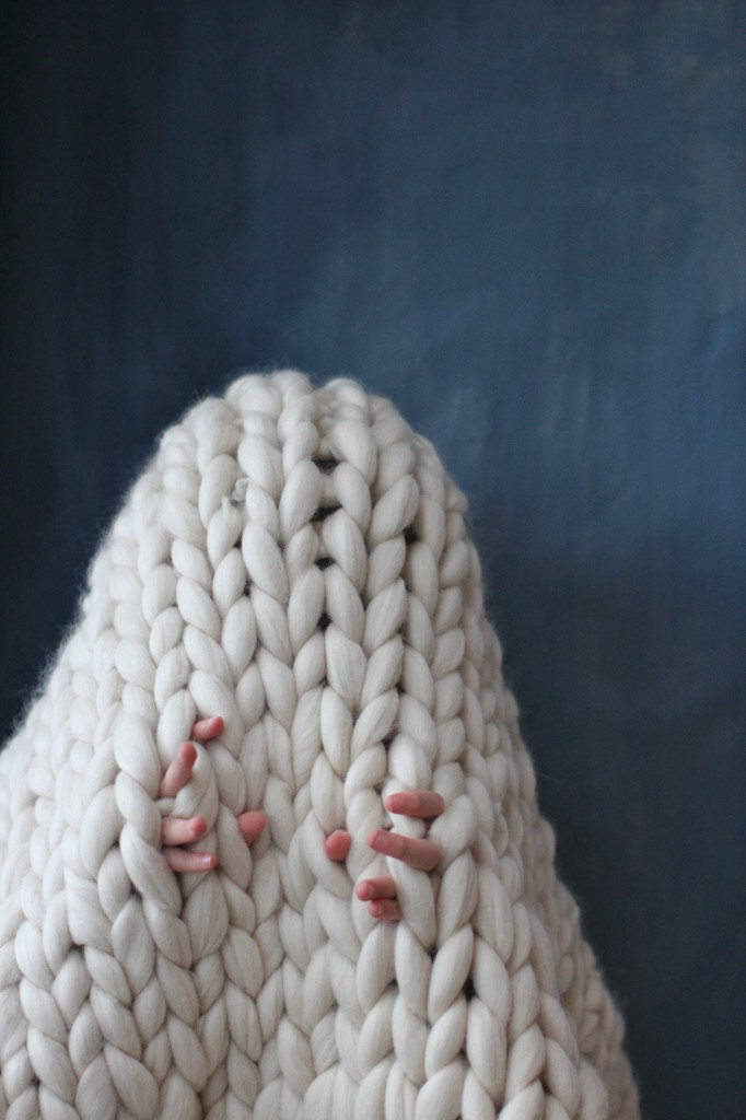 Giant knitting (great for wannabe ghosts)