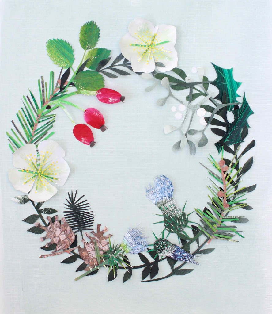 Diy Paper Collage Holiday Wreath